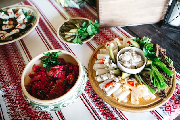 Tasty dishes on the festive table