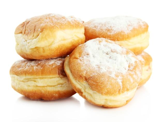 Вкусные пончики, на белом