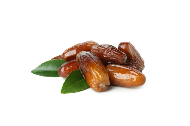 Tasty dried dates isolated on white background