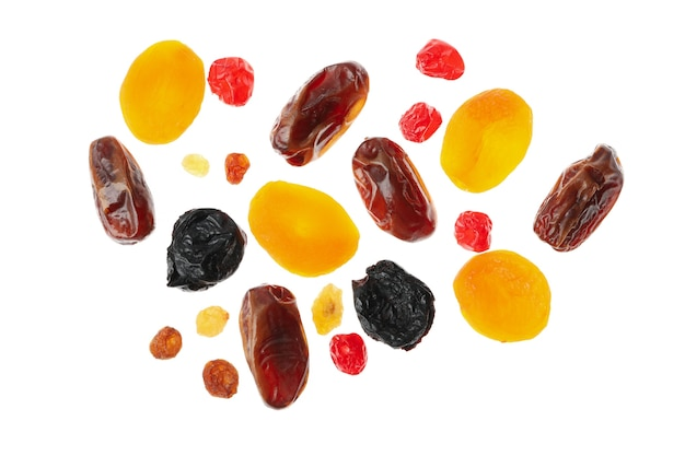 Tasty dried fruits isolated on white background