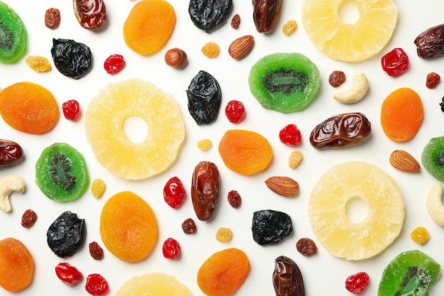Tasty dried fruits on white background, top view