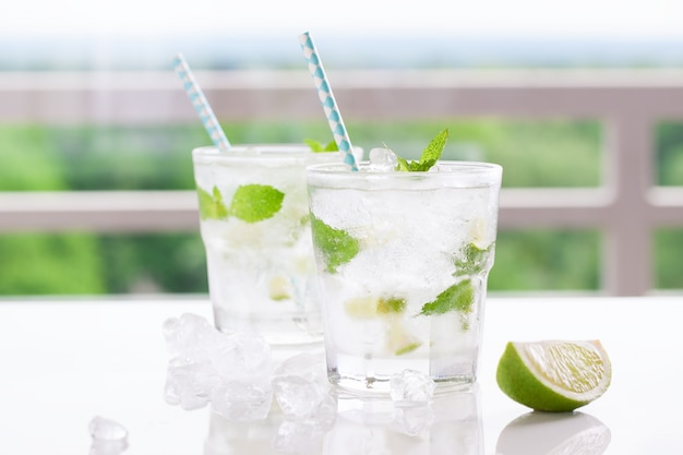 Tasty drink with lemon and spearmint
