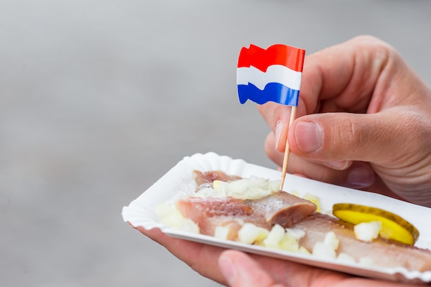 Tasty fresh herring with onion and netherland flag on the water channel in amsterdam. traditional dutch food