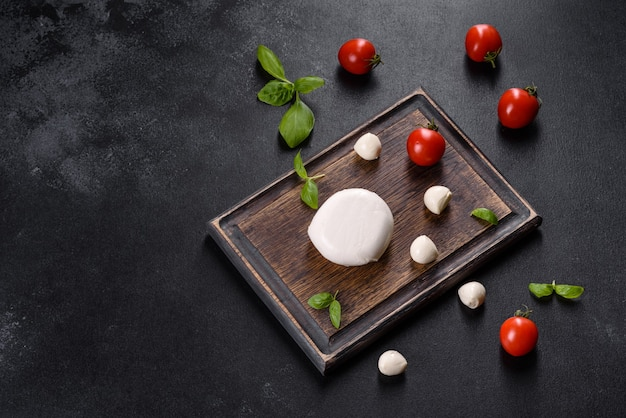 Вкусный свежий сыр моцарелла для салата капрезе. средиземноморская кухня