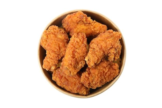 흰색 배경에 고립 된 맛있는 프라이드 치킨