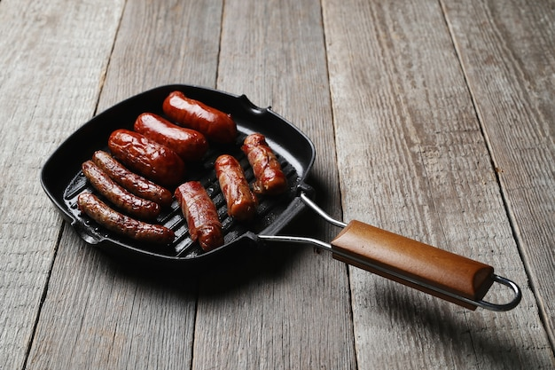 Tasty fried sausages. traditional german food