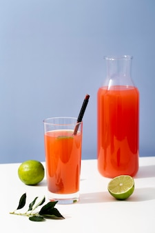 Tasty fruit juice with lime