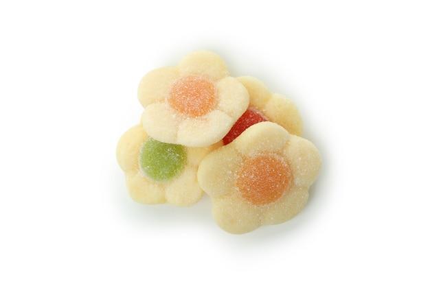 맛 있는 젤리 사탕 흰색 배경에 고립입니다.