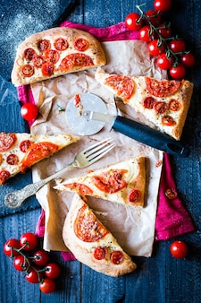 Tasty hand made tomatoes  pizza bread