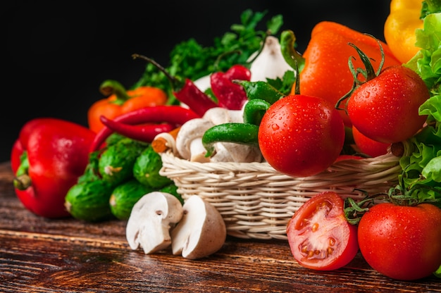Tasty and healthy food vegetables and fruits