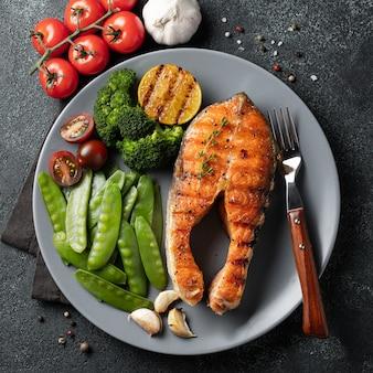 Tasty and healthy salmon steak.
