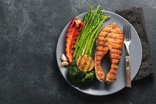 Tasty and healthy salmon steak.
