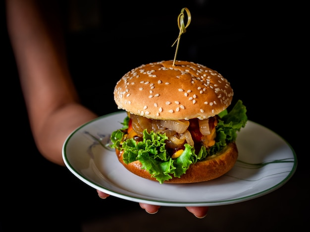 Tasty homemade burger ready to eat.