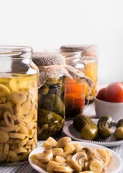 Tasty homemade preserved food vegetables