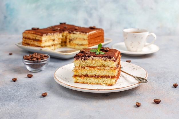 Tasty homemade tiramisu cake.