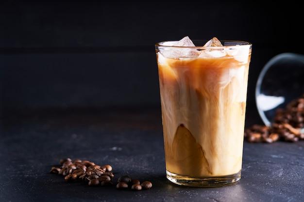 Tasty ice coffee with milk