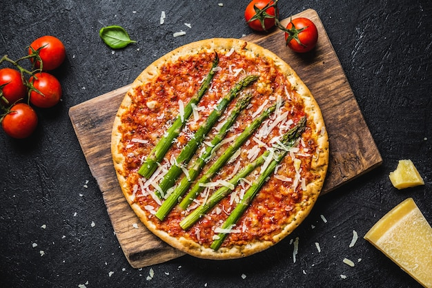 Tasty italian pizza with tomato sauce and parmesan