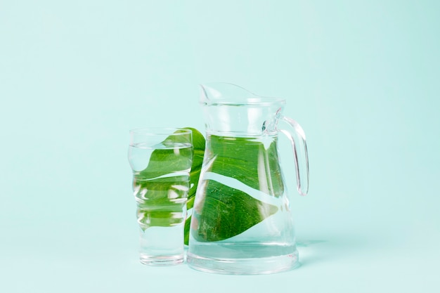 Tasty leaves of mint behind jug of water