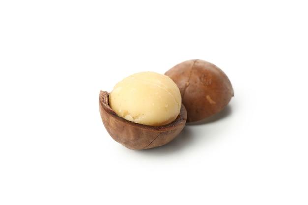 Tasty macadamia nuts isolated on white