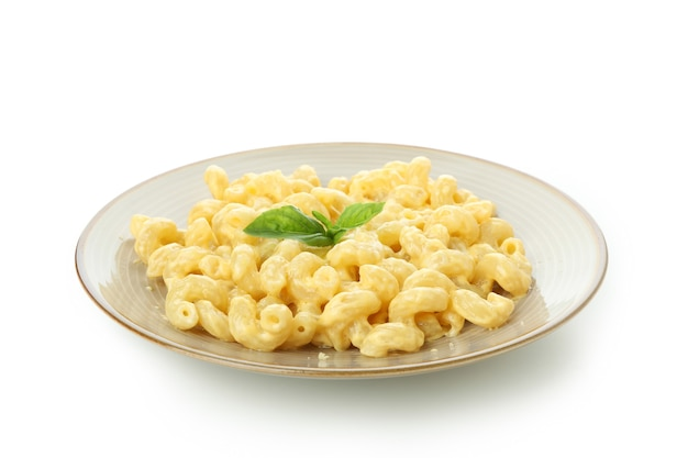 Tasty macaroni and cheese isolated on white background