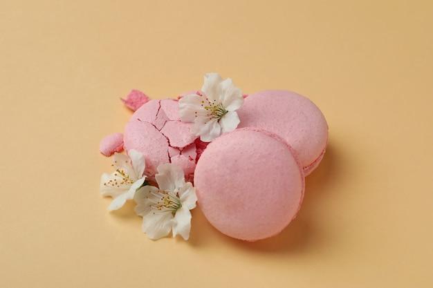 맛있는 마카롱과 베이지 색 배경에 꽃