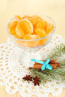 Вкусные дольки мандарина в стеклянной миске