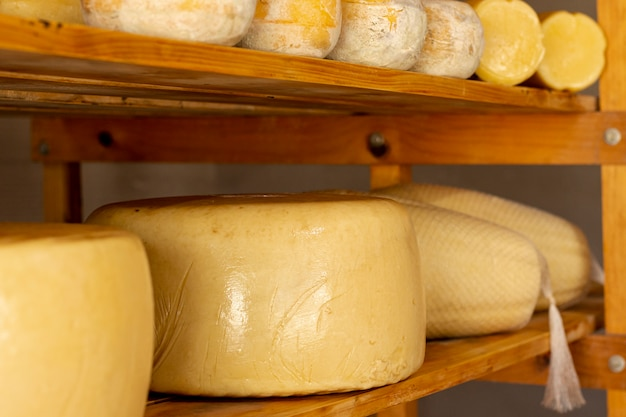 Tasty matured cheese wheels