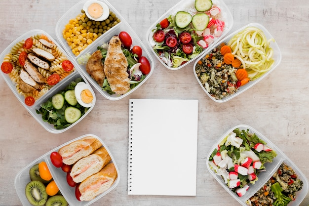 Tasty meal in containers arrangement