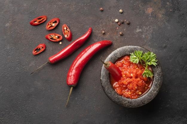 Tasty meal with sambal arrangement