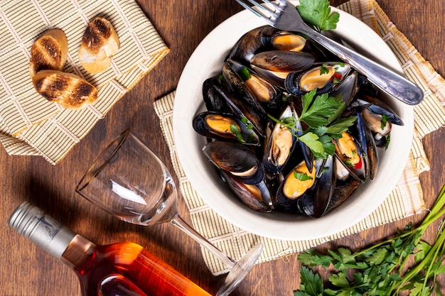 Tasty mussel shells on a plate