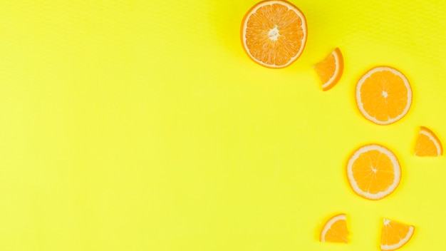 Tasty orange slice on bright background