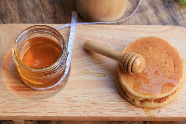 Tasty pancake with honey