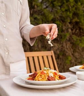 Tasty pasta with chorizo slices