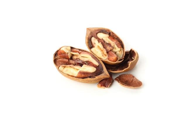 Tasty pecan nuts on white, close up