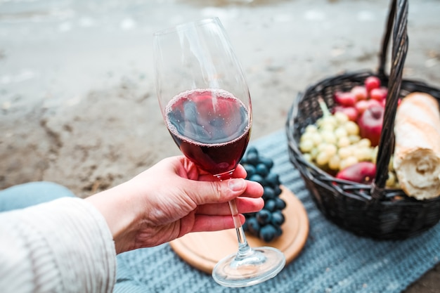 Tasty picnic with red wine and black grapes