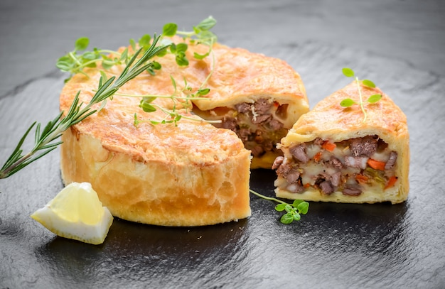 Tasty pie with different fillings