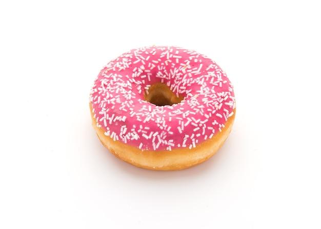 흰색 바탕에 맛있는 핑크 도넛
