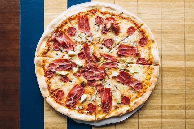 Tasty pizza with meat