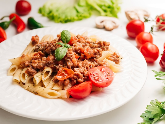 Tasty plate of pasta bolognese