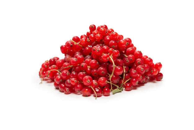 Tasty red currant isolated on white background. top view.
