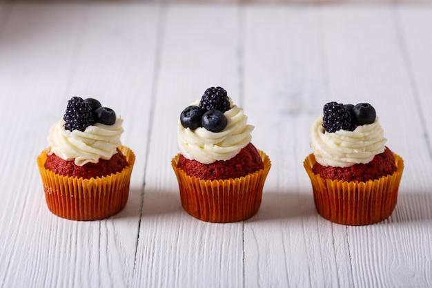 Tasty red velvet cupcakes.