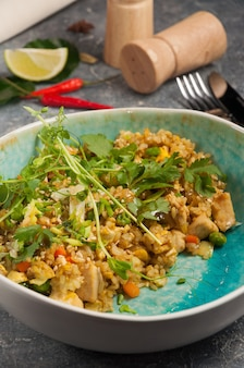 Tasty rice with curry and chicken asian dish