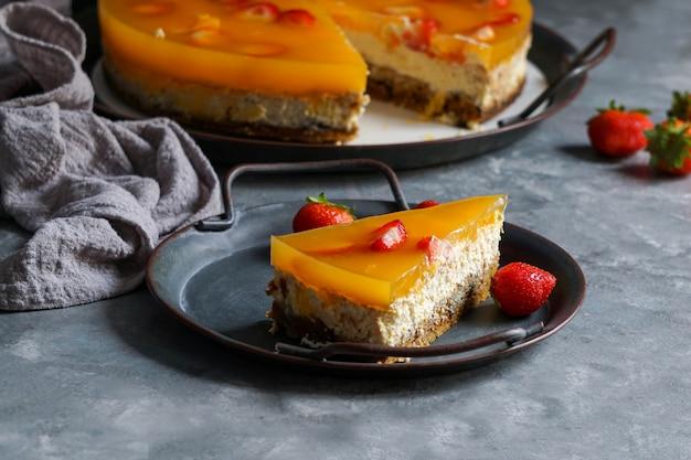 Tasty ricotta cheesecake with berries
