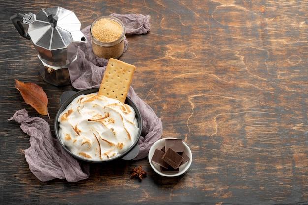 Tasty s'mores dessert composition