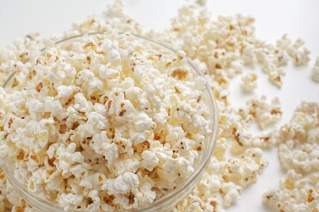 Tasty salted popcorn in bowl
