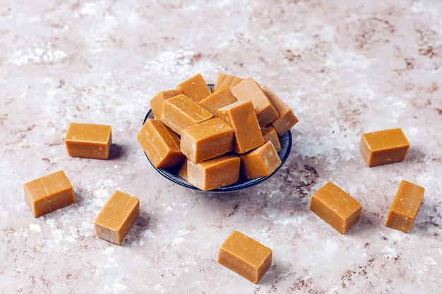 Tasty salty caramel fudge candies with sea salt