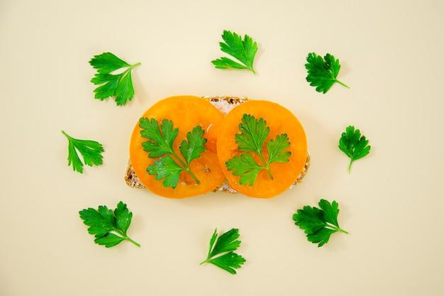 Tasty sandwich with parsley