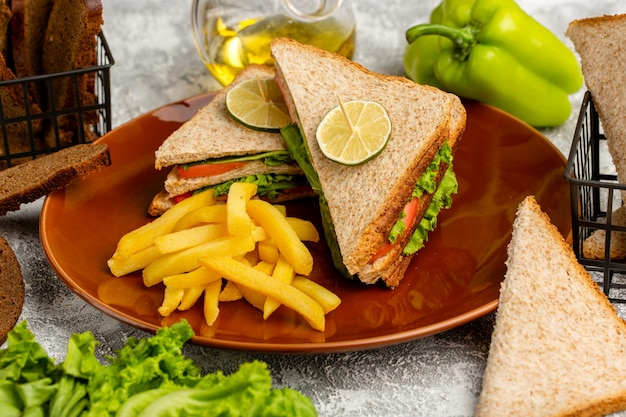 Tasty sandwiches with green lettuce, tomatoes and french fries