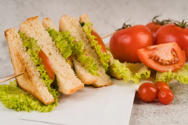 Tasty sandwiches with vegetables
