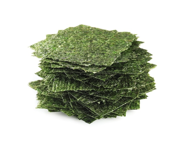 Tasty seaweed sheets on white